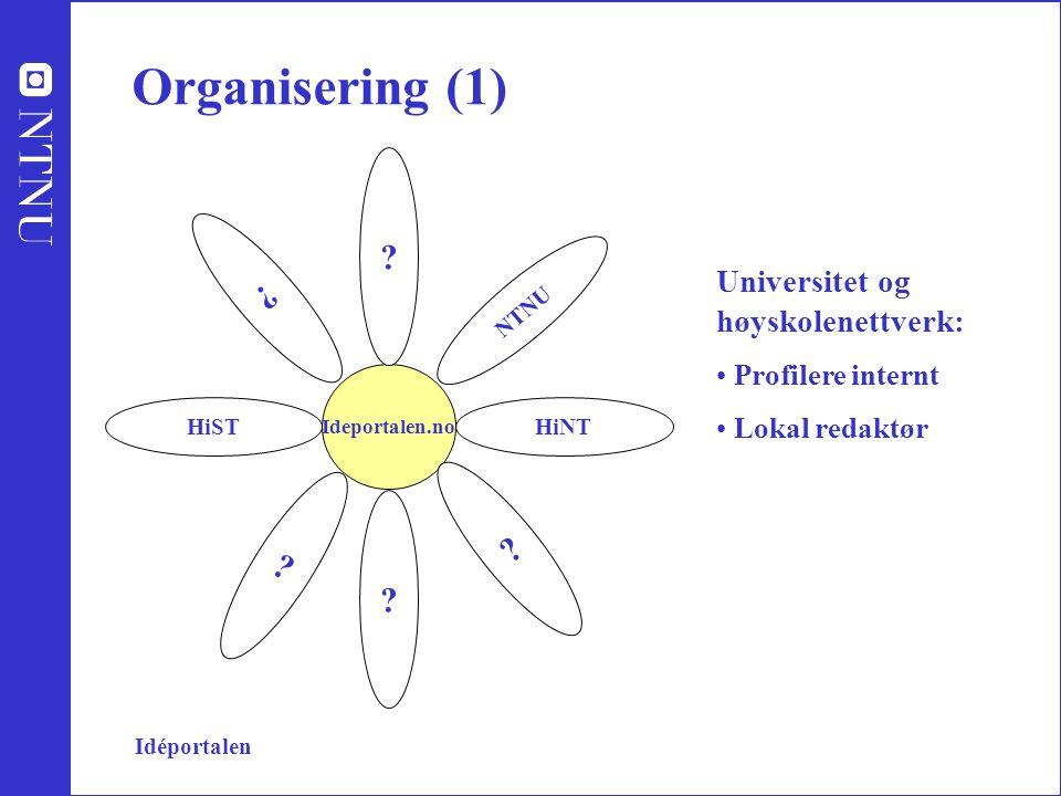 Organisering (1) Universitet og høyskolenettverk: Profilere internt Lokal redaktør Ideportalen.no HiST NTNU HiNT .