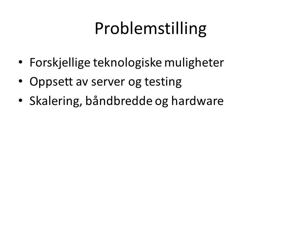 Problemstilling Forskjellige teknologiske muligheter Oppsett av server og testing Skalering, båndbredde og hardware