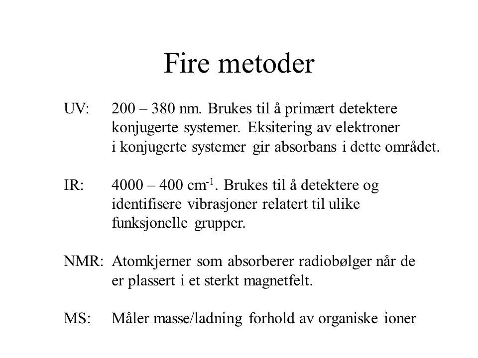 Fire metoder UV:200 – 380 nm. Brukes til å primært detektere konjugerte systemer. Eksitering av elektroner i konjugerte systemer gir absorbans i dette