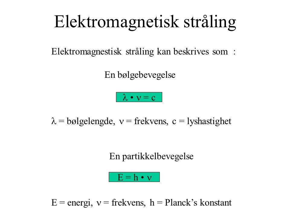 Elektromagnetisk stråling Elektromagnestisk stråling kan beskrives som : En bølgebevegelse = bølgelengde, = frekvens, c = lyshastighet En partikkelbevegelse E = energi, = frekvens, h = Planck's konstant = c E = h