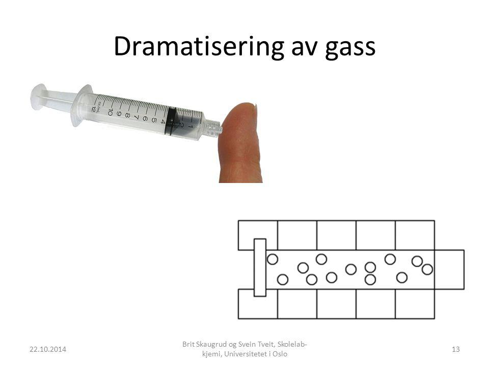 Dramatisering av gass 22.10.2014 Brit Skaugrud og Svein Tveit, Skolelab- kjemi, Universitetet i Oslo 13
