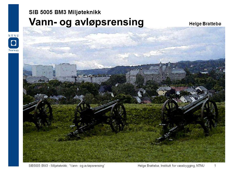 SIB5005 BM3 - Miljøteknikk: Vann- og avløpsrensing Helge Brattebø, Institutt for vassbygging, NTNU 2 Rensing - hvordan og til hvilket formål?