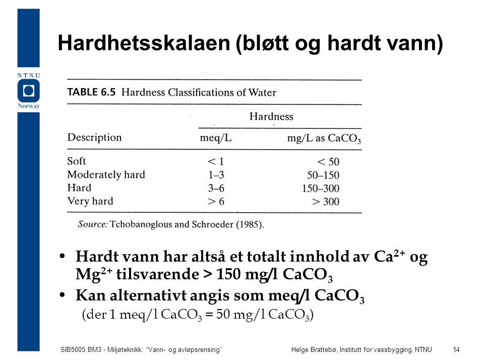"""SIB5005 BM3 - Miljøteknikk: """"Vann- og avløpsrensing""""Helge Brattebø, Institutt for vassbygging, NTNU 14 Hardhetsskalaen (bløtt og hardt vann) Hardt van"""