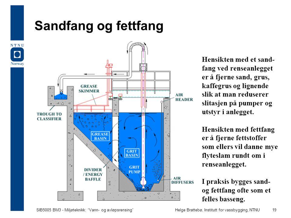 """SIB5005 BM3 - Miljøteknikk: """"Vann- og avløpsrensing""""Helge Brattebø, Institutt for vassbygging, NTNU 19 Sandfang og fettfang Hensikten med et sand- fan"""