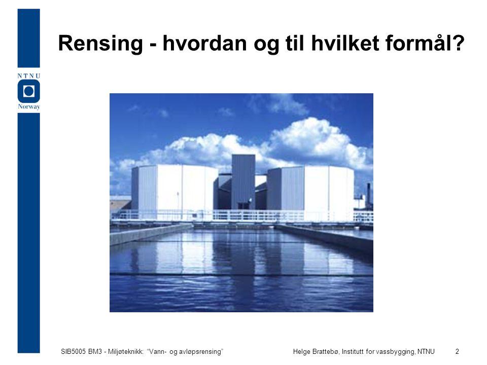 """SIB5005 BM3 - Miljøteknikk: """"Vann- og avløpsrensing""""Helge Brattebø, Institutt for vassbygging, NTNU 2 Rensing - hvordan og til hvilket formål?"""