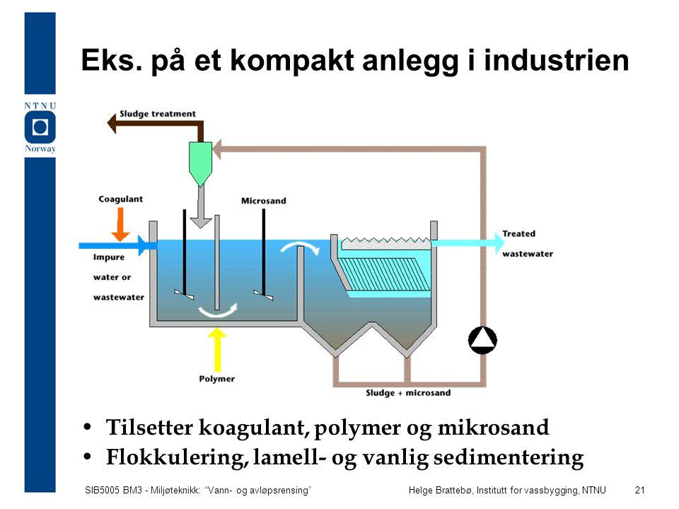 """SIB5005 BM3 - Miljøteknikk: """"Vann- og avløpsrensing""""Helge Brattebø, Institutt for vassbygging, NTNU 21 Eks. på et kompakt anlegg i industrien Tilsette"""