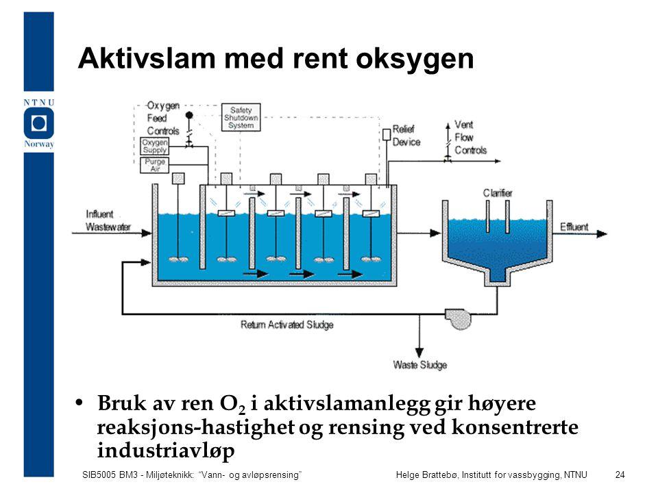 """SIB5005 BM3 - Miljøteknikk: """"Vann- og avløpsrensing""""Helge Brattebø, Institutt for vassbygging, NTNU 24 Aktivslam med rent oksygen Bruk av ren O 2 i ak"""