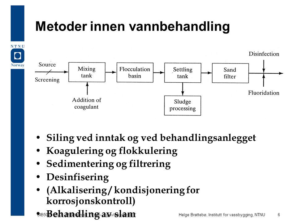 SIB5005 BM3 - Miljøteknikk: Vann- og avløpsrensing Helge Brattebø, Institutt for vassbygging, NTNU 7 Koagulering og flokkulering Fjerning av partikler foregår normalt i tre trinn: –Koagulering: først må de helt små partiklerne (kolloidalt stoff 0,001-1  m) destabiliseres (en kjemisk reaksjon) ved tilsetning av metallsalter (kort tid og stor turbulens) –Flokkulering: deretter må disse bygges opp til større partikler, som senere kan separeres, ved en langsom omrøring/turbulens i vannet ca 1/2 time (en fysisk reaksjon) –Separering: til sist kan de store eller tunge partiklene separeres fra vannet (ved sedimentering, flotasjon, filtrering) Disse prosessene er vanlige i vann-/avløpsrensing