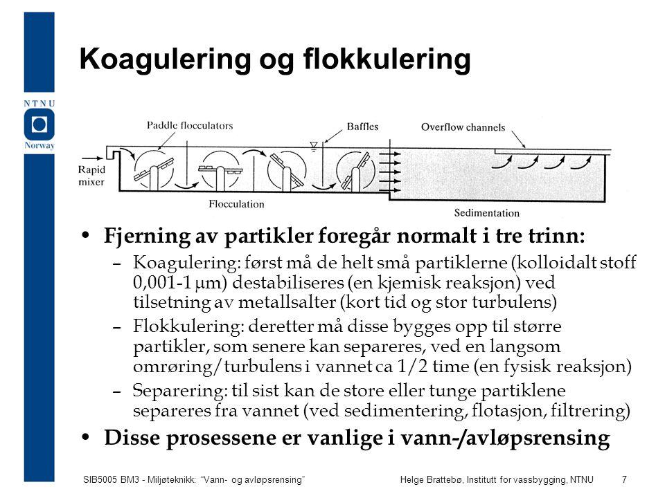 SIB5005 BM3 - Miljøteknikk: Vann- og avløpsrensing Helge Brattebø, Institutt for vassbygging, NTNU 8 Kjemikalier ved koagulering Aluminiumsulfat: Al 2 (SO 4 ) 3 18H 2 0 Jernsulfat: FeSO 4 og jernklorid: FeCl 3 Metallsaltene spaltes, men har lav løselighet i vann ved den rette pH (6,0-6,5), og derfor felles det ut metallhydroksyd som binder seg til partikler og får dem til å sedimentere.