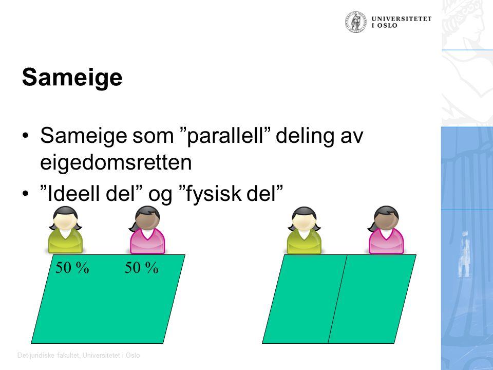 """Det juridiske fakultet, Universitetet i Oslo Sameige Sameige som """"parallell"""" deling av eigedomsretten """"Ideell del"""" og """"fysisk del"""" 50 %"""