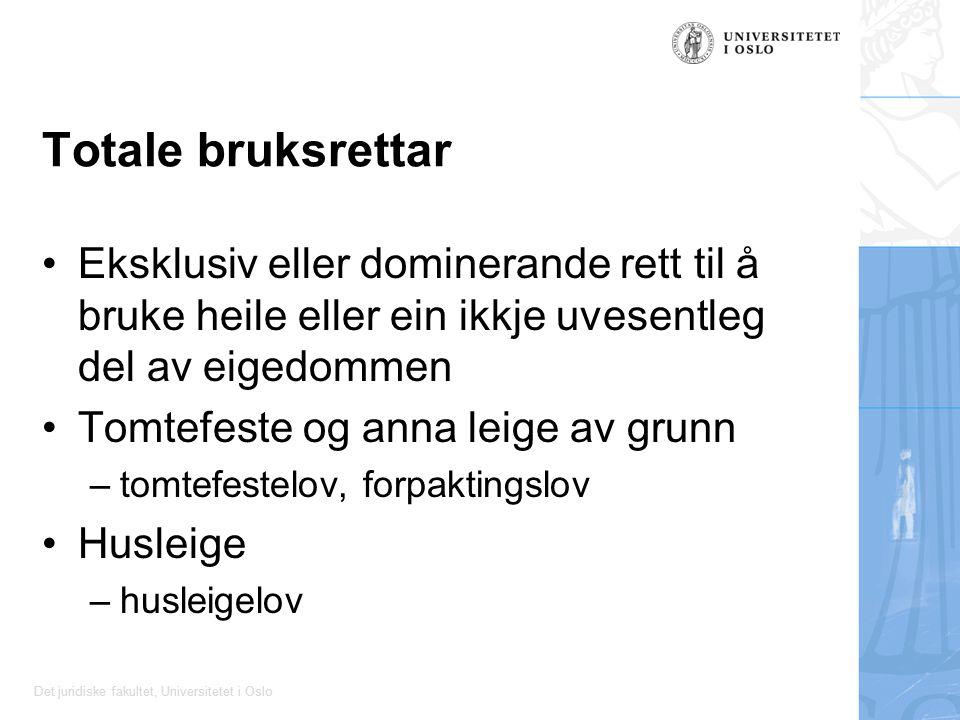 Det juridiske fakultet, Universitetet i Oslo Totale bruksrettar Eksklusiv eller dominerande rett til å bruke heile eller ein ikkje uvesentleg del av e