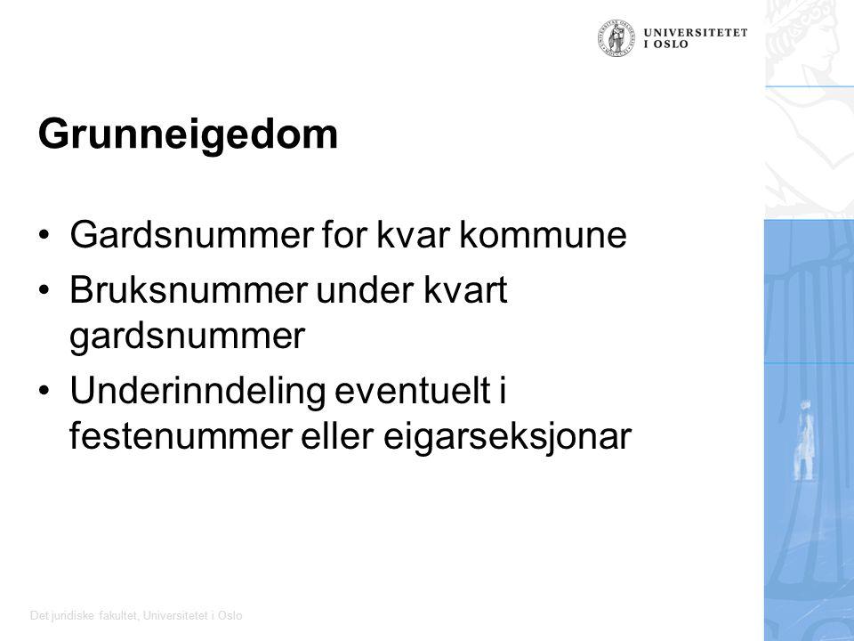 Det juridiske fakultet, Universitetet i Oslo Grunneigedom Gardsnummer for kvar kommune Bruksnummer under kvart gardsnummer Underinndeling eventuelt i festenummer eller eigarseksjonar