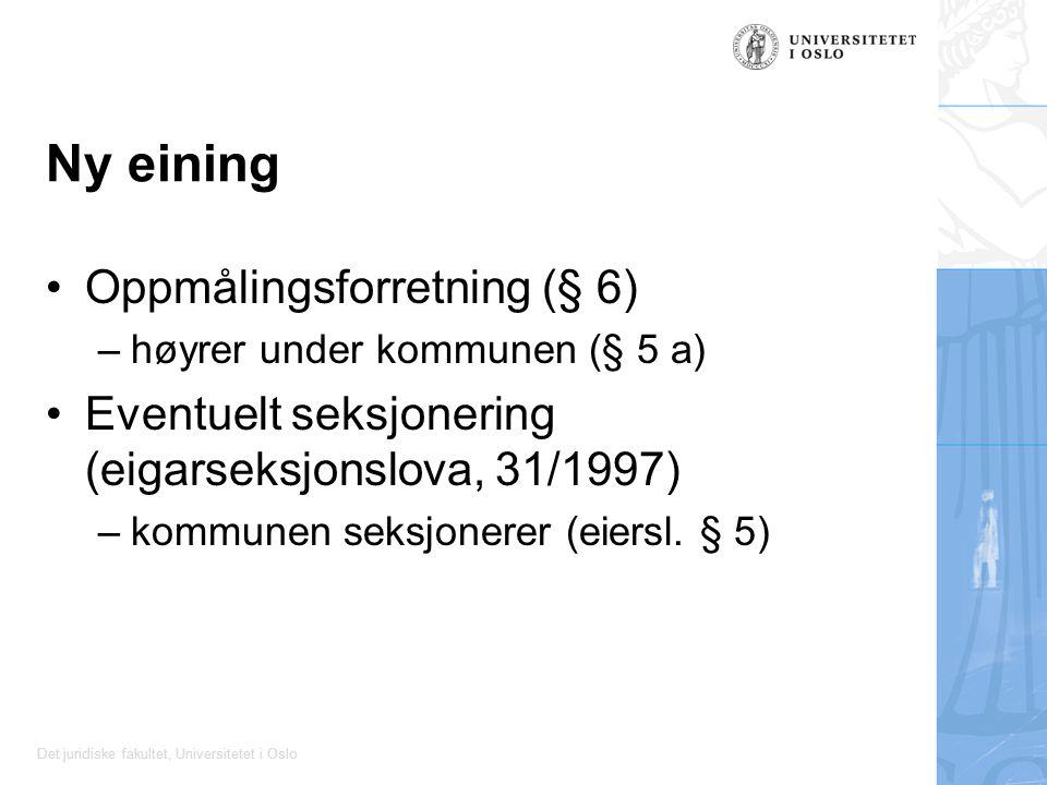 Det juridiske fakultet, Universitetet i Oslo Ny eining Oppmålingsforretning (§ 6) –høyrer under kommunen (§ 5 a) Eventuelt seksjonering (eigarseksjonslova, 31/1997) –kommunen seksjonerer (eiersl.