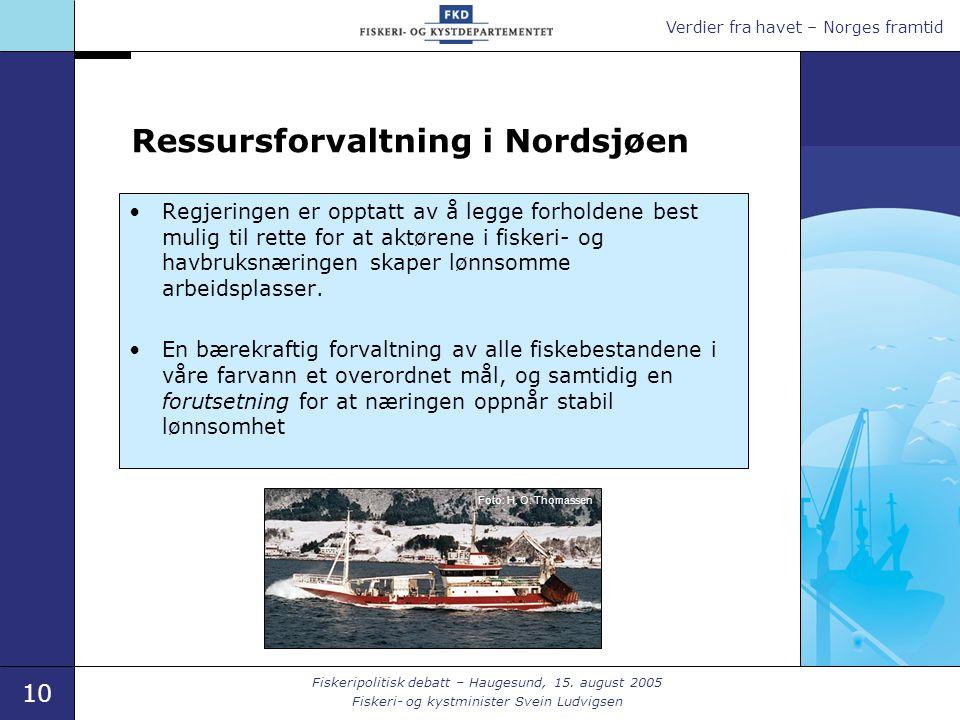 Verdier fra havet – Norges framtid 10 Fiskeripolitisk debatt – Haugesund, 15.