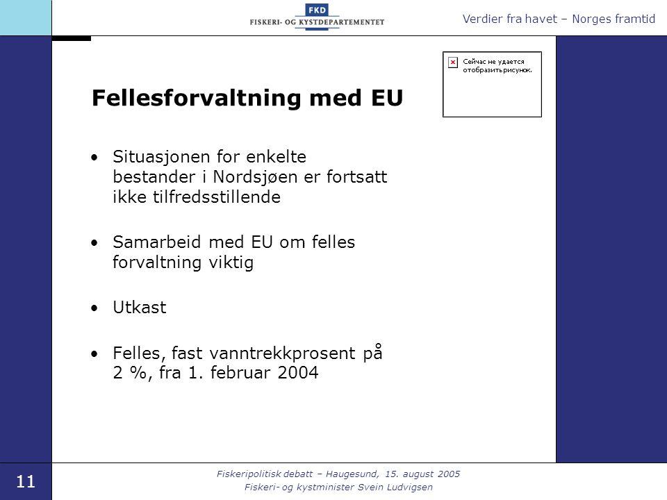Verdier fra havet – Norges framtid 11 Fiskeripolitisk debatt – Haugesund, 15.