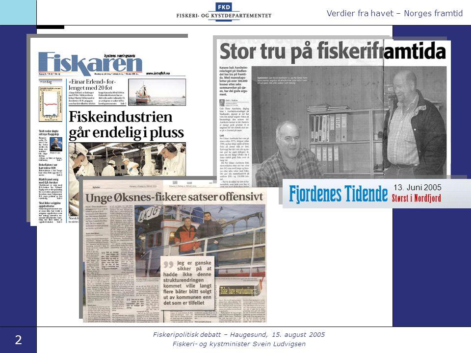 Verdier fra havet – Norges framtid 2 Fiskeripolitisk debatt – Haugesund, 15.