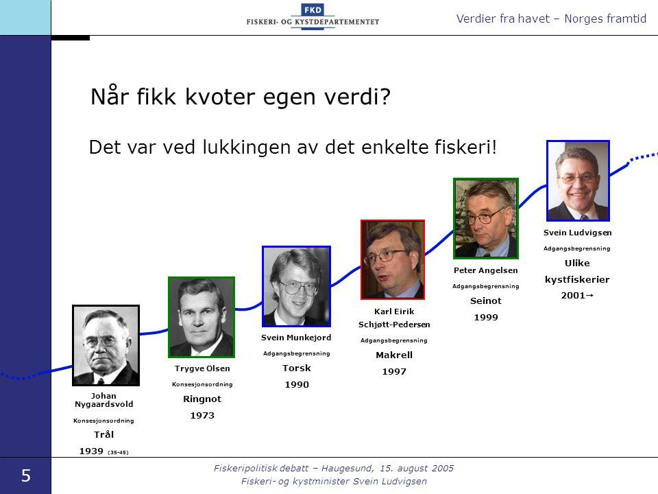 Verdier fra havet – Norges framtid 5 Fiskeripolitisk debatt – Haugesund, 15.