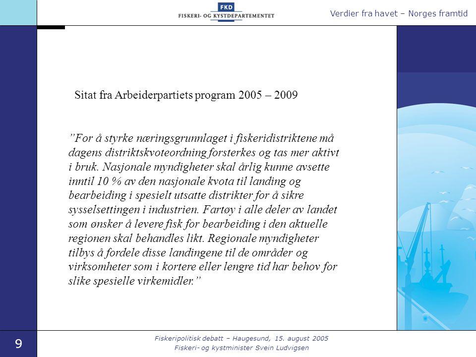 Verdier fra havet – Norges framtid 9 Fiskeripolitisk debatt – Haugesund, 15.