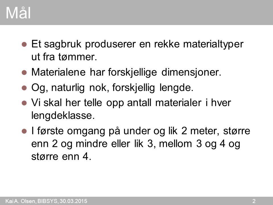 Kai A.Olsen, BIBSYS, 30.03.2015 2 Mål Et sagbruk produserer en rekke materialtyper ut fra tømmer.