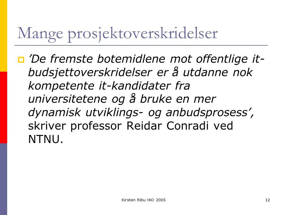 Kirsten Ribu HiO 200512 Mange prosjektoverskridelser  'De fremste botemidlene mot offentlige it- budsjettoverskridelser er å utdanne nok kompetente it-kandidater fra universitetene og å bruke en mer dynamisk utviklings- og anbudsprosess', skriver professor Reidar Conradi ved NTNU.