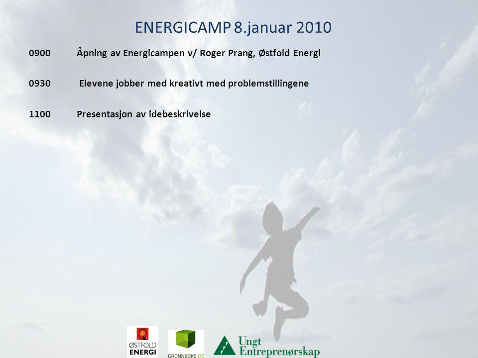 ENERGICAMP 8.januar 2010 0900 Åpning av Energicampen v/ Roger Prang, Østfold Energi 0930 Elevene jobber med kreativt med problemstillingene 1100 Presentasjon av idebeskrivelse