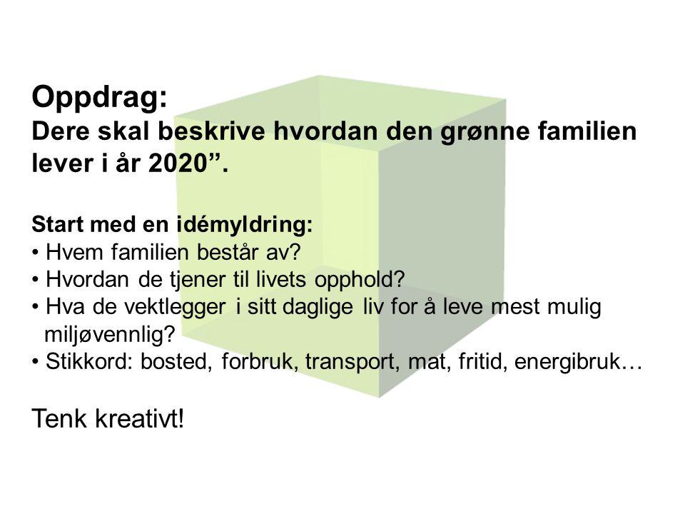 Oppdrag: Dere skal beskrive hvordan den grønne familien lever i år 2020 .