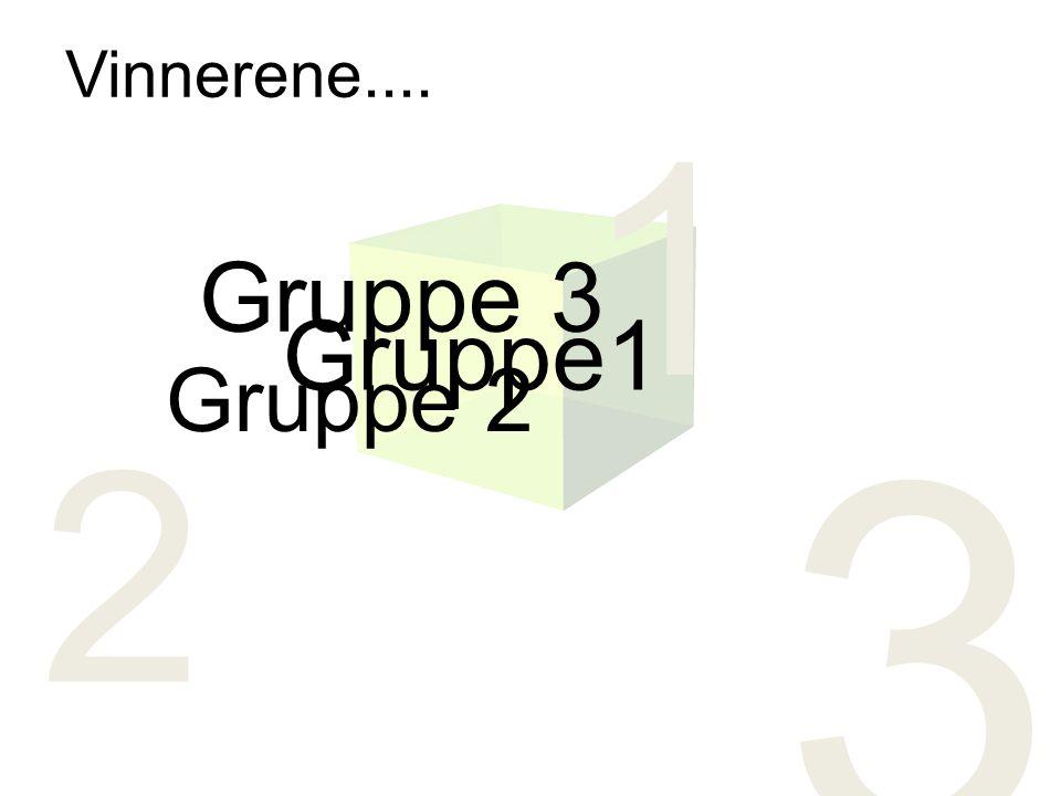 3 2 1 Gruppe 3 Gruppe 2 Gruppe1 Vinnerene....