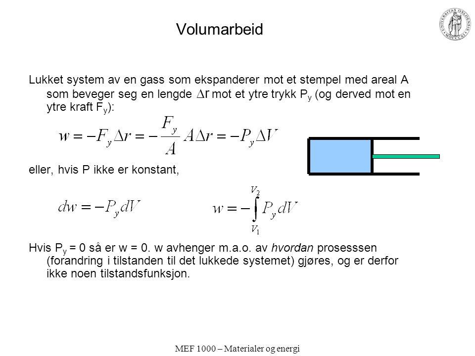MEF 1000 – Materialer og energi Volumarbeid Lukket system av en gass som ekspanderer mot et stempel med areal A som beveger seg en lengde  r mot et ytre trykk P y (og derved mot en ytre kraft F y ): eller, hvis P ikke er konstant, Hvis P y = 0 så er w = 0.