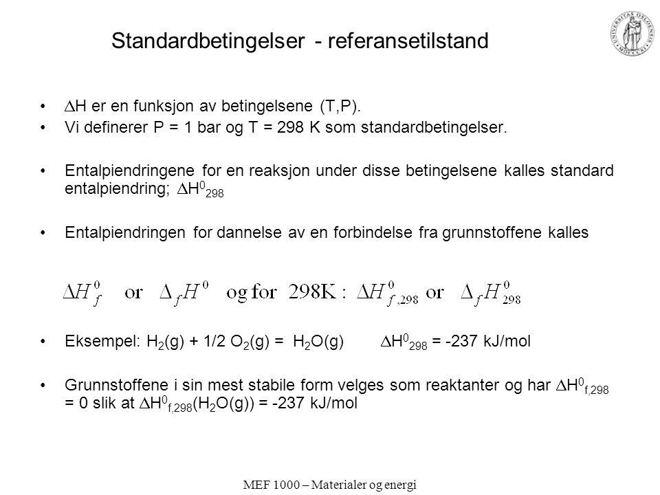 MEF 1000 – Materialer og energi Standardbetingelser - referansetilstand  H er en funksjon av betingelsene (T,P). Vi definerer P = 1 bar og T = 298 K