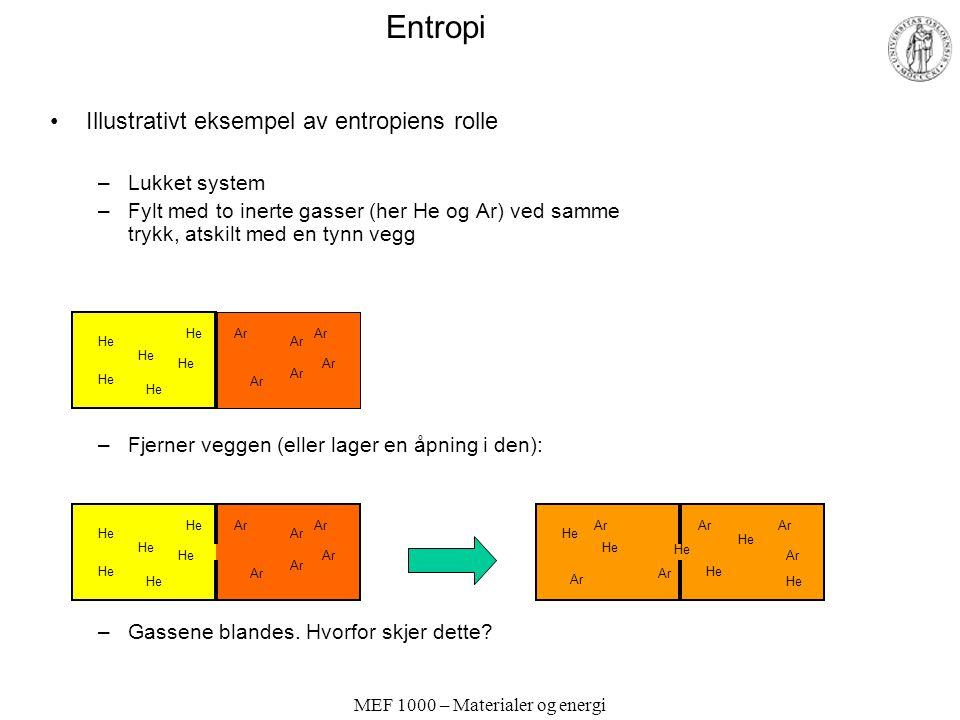 MEF 1000 – Materialer og energi Entropi Illustrativt eksempel av entropiens rolle –Lukket system –Fylt med to inerte gasser (her He og Ar) ved samme trykk, atskilt med en tynn vegg –Fjerner veggen (eller lager en åpning i den): –Gassene blandes.