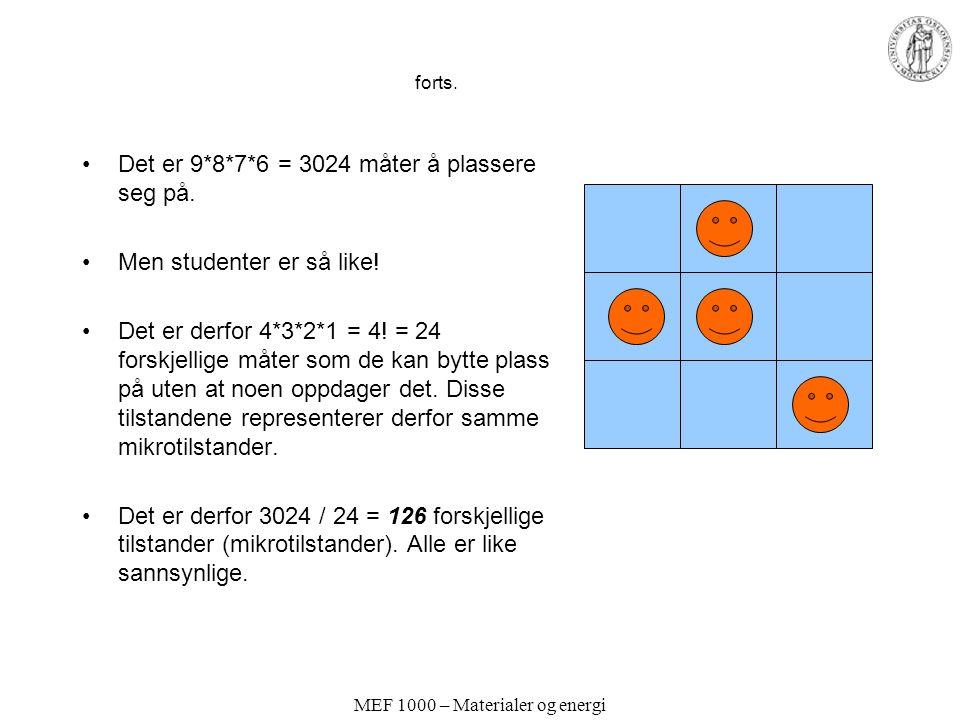 MEF 1000 – Materialer og energi forts.Det er 9*8*7*6 = 3024 måter å plassere seg på.