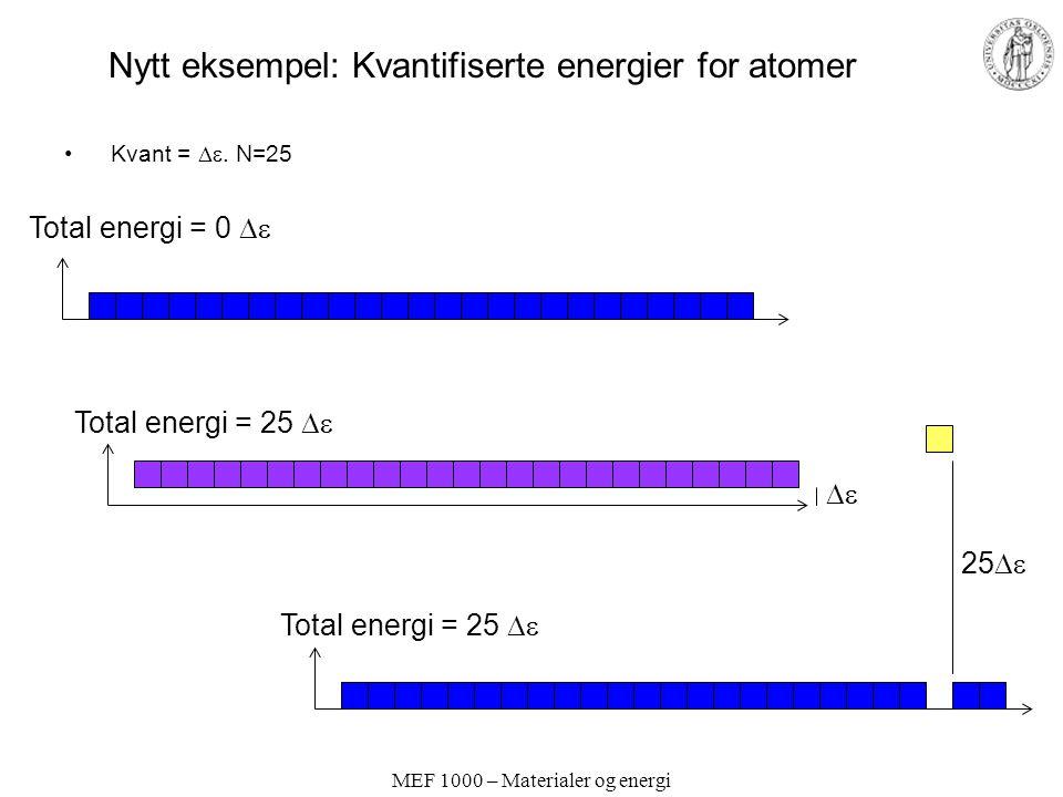 MEF 1000 – Materialer og energi Nytt eksempel: Kvantifiserte energier for atomer Kvant = .