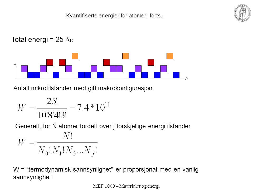 MEF 1000 – Materialer og energi Kvantifiserte energier for atomer, forts. : Total energi = 25  Antall mikrotilstander med gitt makrokonfigurasjon: G