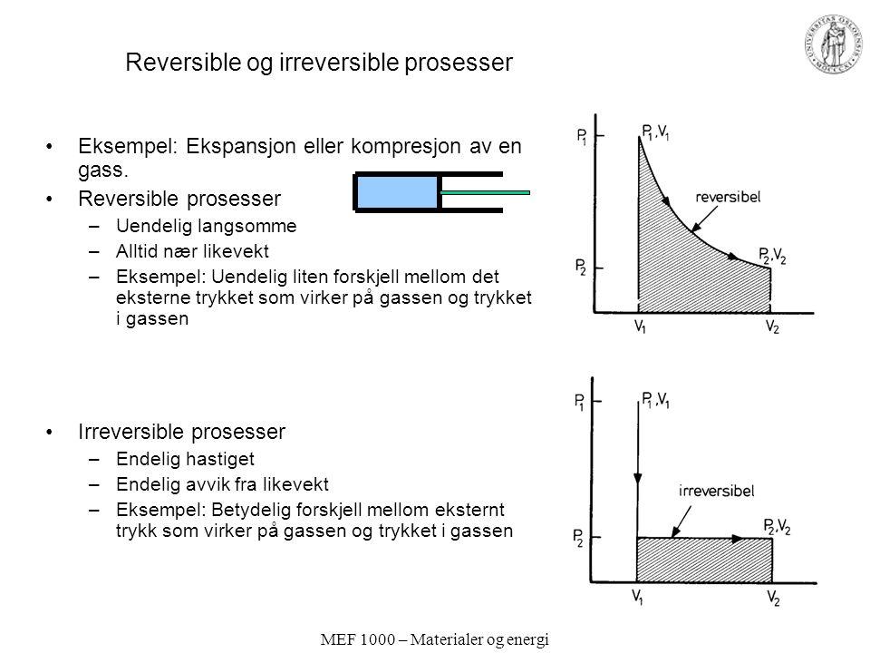 MEF 1000 – Materialer og energi Reversible og irreversible prosesser Eksempel: Ekspansjon eller kompresjon av en gass. Reversible prosesser –Uendelig