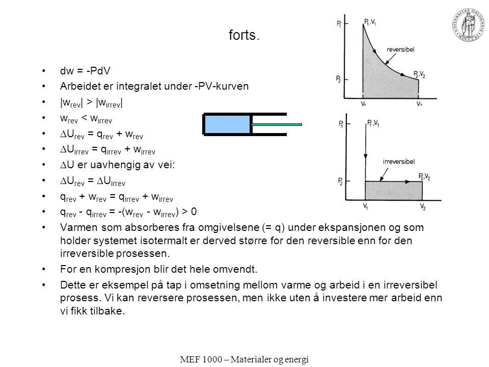 MEF 1000 – Materialer og energi forts. dw = -PdV Arbeidet er integralet under -PV-kurven  w rev   >  w irrev   w rev < w irrev  U rev = q rev + w rev