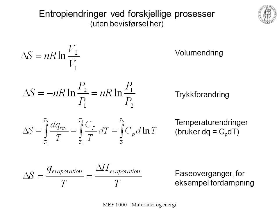 MEF 1000 – Materialer og energi Entropiendringer ved forskjellige prosesser (uten bevisførsel her) Volumendring Trykkforandring Temperaturendringer (bruker dq = C p dT) Faseoverganger, for eksempel fordampning
