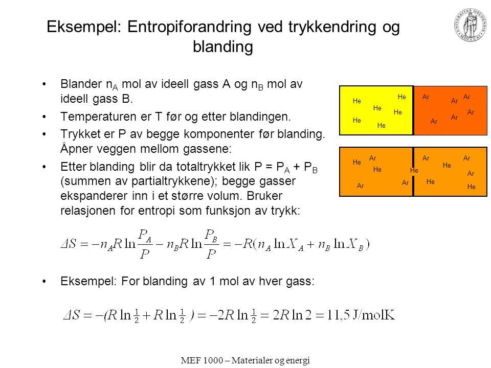 MEF 1000 – Materialer og energi Eksempel: Entropiforandring ved trykkendring og blanding Blander n A mol av ideell gass A og n B mol av ideell gass B.