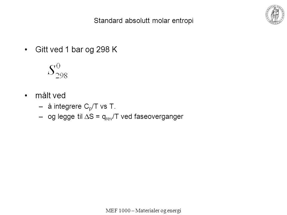 MEF 1000 – Materialer og energi Standard absolutt molar entropi Gitt ved 1 bar og 298 K målt ved –å integrere C p /T vs T. –og legge til  S = q rev /