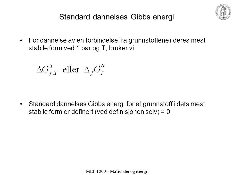 MEF 1000 – Materialer og energi Standard dannelses Gibbs energi For dannelse av en forbindelse fra grunnstoffene i deres mest stabile form ved 1 bar og T, bruker vi Standard dannelses Gibbs energi for et grunnstoff i dets mest stabile form er definert (ved definisjonen selv) = 0.