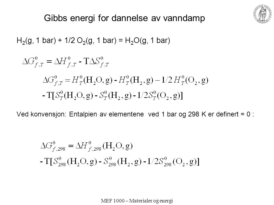MEF 1000 – Materialer og energi Gibbs energi for dannelse av vanndamp H 2 (g, 1 bar) + 1/2 O 2 (g, 1 bar) = H 2 O(g, 1 bar) Ved konvensjon: Entalpien av elementene ved 1 bar og 298 K er definert = 0 :