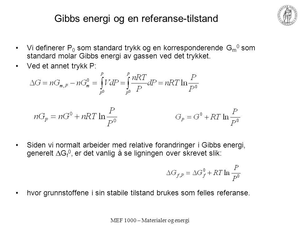 MEF 1000 – Materialer og energi Gibbs energi og en referanse-tilstand Vi definerer P 0 som standard trykk og en korresponderende G m 0 som standard molar Gibbs energi av gassen ved det trykket.