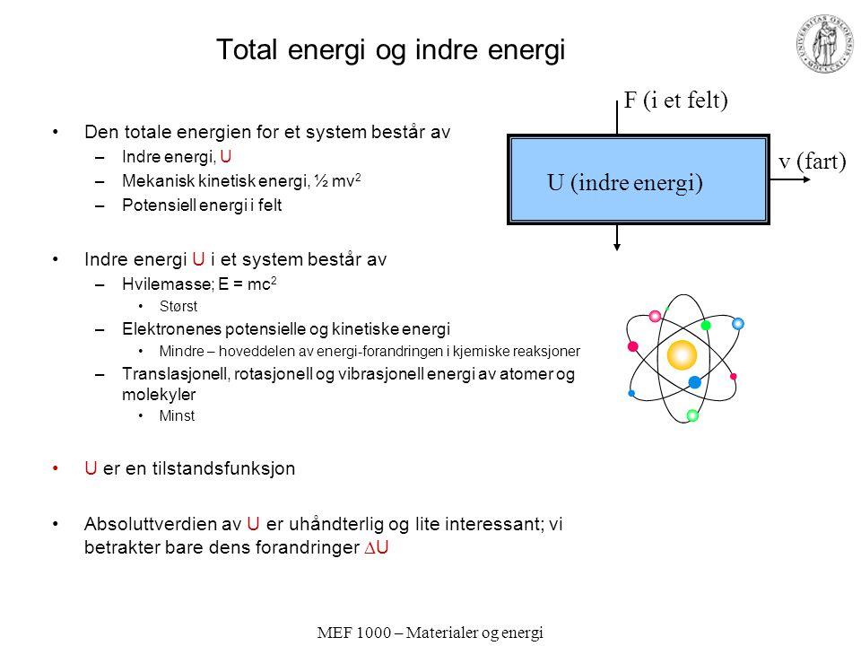 MEF 1000 – Materialer og energi Total energi og indre energi Den totale energien for et system består av –Indre energi, U –Mekanisk kinetisk energi, ½ mv 2 –Potensiell energi i felt Indre energi U i et system består av –Hvilemasse; E = mc 2 Størst –Elektronenes potensielle og kinetiske energi Mindre – hoveddelen av energi-forandringen i kjemiske reaksjoner –Translasjonell, rotasjonell og vibrasjonell energi av atomer og molekyler Minst U er en tilstandsfunksjon Absoluttverdien av U er uhåndterlig og lite interessant; vi betrakter bare dens forandringer  U F (i et felt) v (fart) U (indre energi)