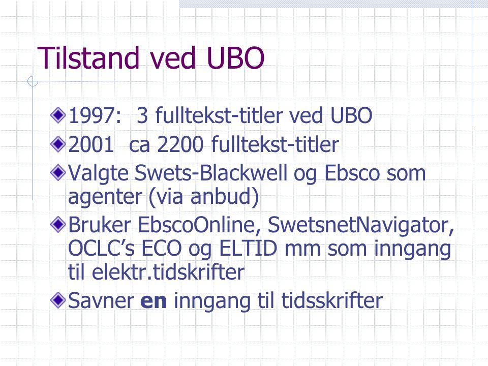 Tilstand ved UBO 1997: 3 fulltekst-titler ved UBO 2001 ca 2200 fulltekst-titler Valgte Swets-Blackwell og Ebsco som agenter (via anbud) Bruker EbscoOnline, SwetsnetNavigator, OCLC's ECO og ELTID mm som inngang til elektr.tidskrifter Savner en inngang til tidsskrifter