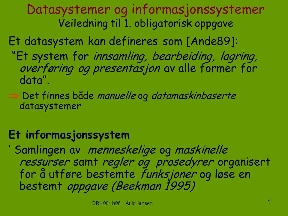 DRI1001 h06 - Arild Jansen 2 Informasjonssystem og datasystem Datasystem inngår i et Informasjons-system som inngår i en organisert samhandling Informasjonssystem Datasystem = formaliserbar del automatiserbar del Organisasjon Rammer for systemet