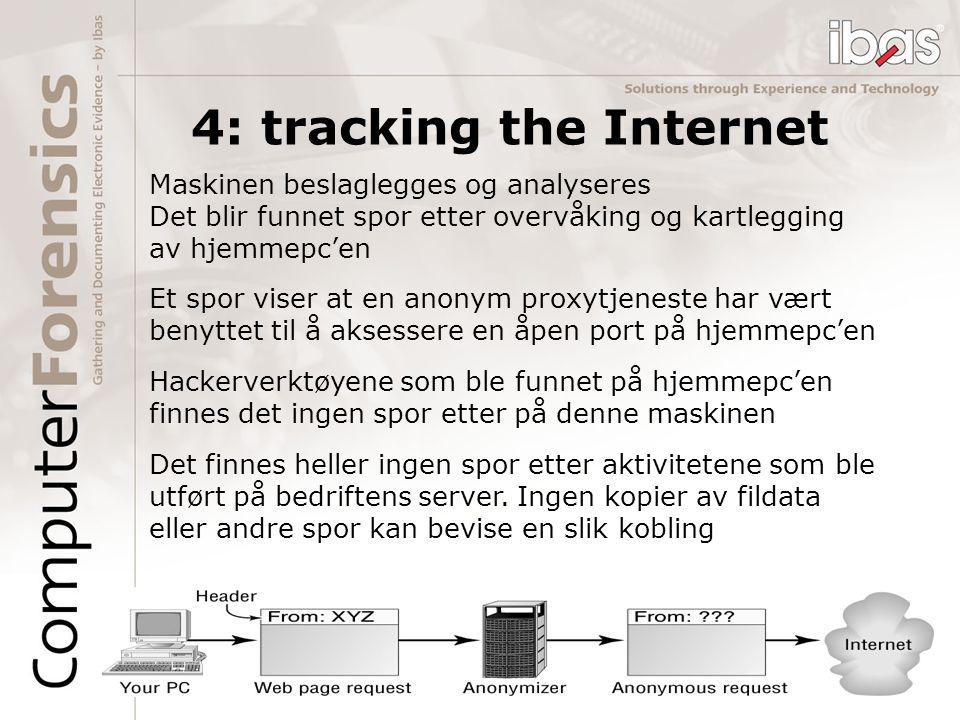 4: tracking the Internet Det finnes heller ingen spor etter aktivitetene som ble utført på bedriftens server. Ingen kopier av fildata eller andre spor