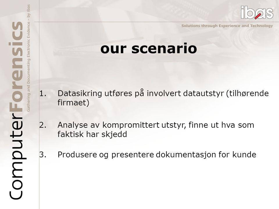 our scenario 1.Datasikring utføres på involvert datautstyr (tilhørende firmaet) 2.Analyse av kompromittert utstyr, finne ut hva som faktisk har skjedd 3.Produsere og presentere dokumentasjon for kunde