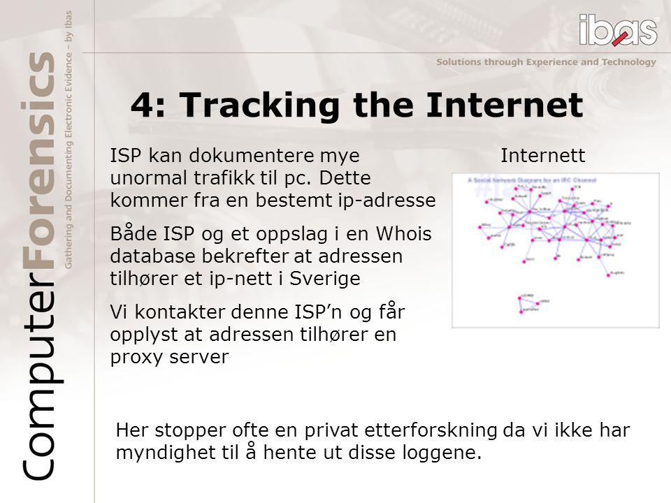 InternettISP kan dokumentere mye unormal trafikk til pc. Dette kommer fra en bestemt ip-adresse Både ISP og et oppslag i en Whois database bekrefter a