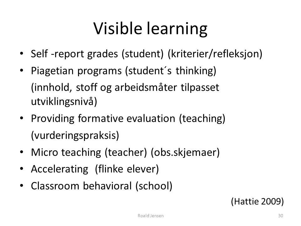 Visible learning Self -report grades (student) (kriterier/refleksjon) Piagetian programs (student´s thinking) (innhold, stoff og arbeidsmåter tilpasse