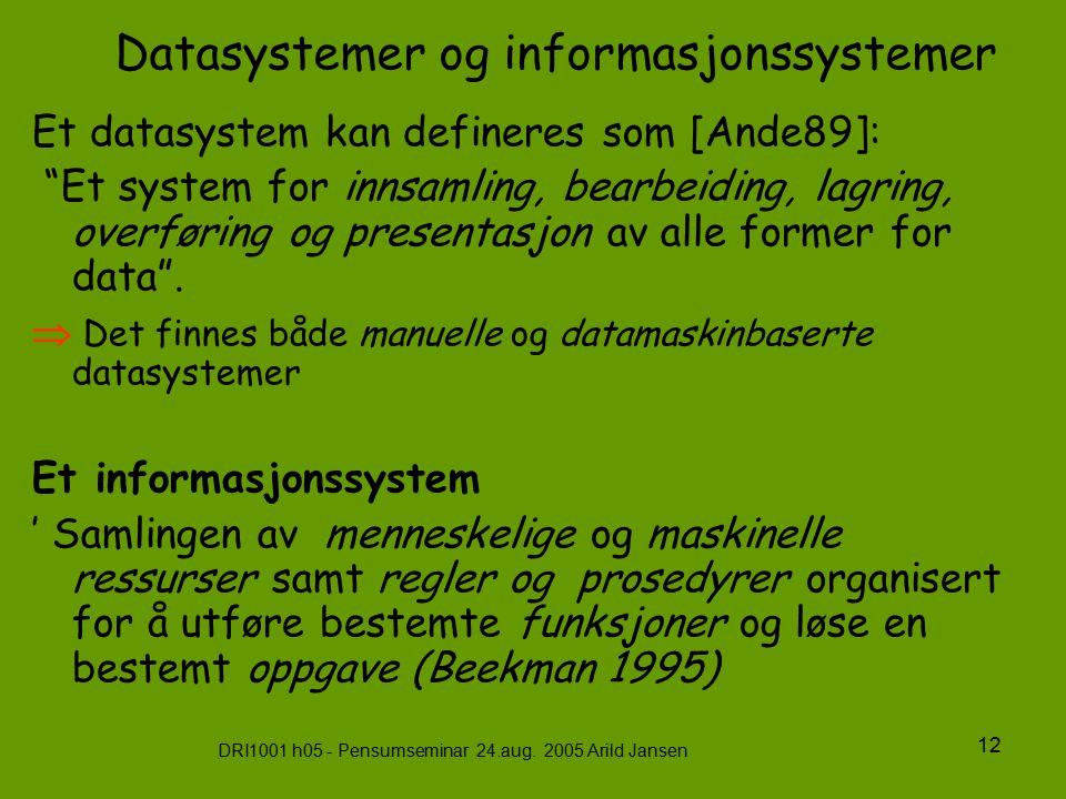 """DRI1001 h05 - Pensumseminar 24.aug. 2005 Arild Jansen 12 Datasystemer og informasjonssystemer Et datasystem kan defineres som [Ande89]: """"Et system for"""