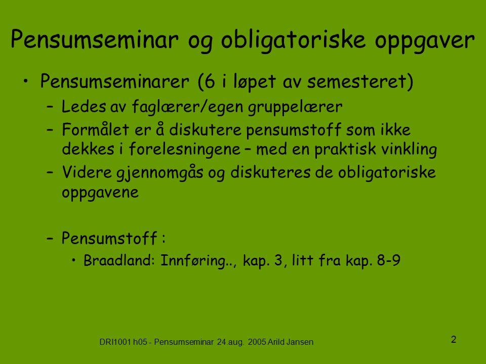 DRI1001 h05 - Pensumseminar 24.aug. 2005 Arild Jansen 2 Pensumseminar og obligatoriske oppgaver Pensumseminarer (6 i løpet av semesteret) –Ledes av fa